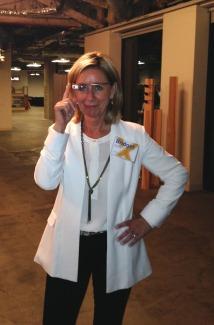 M. Bridget Duffy, M.D. Chief Medical Officer Vocera Communications, testing out Augmedix.